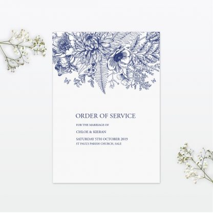 Beautiful Butterfly wedding order of service Love Invited