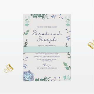 Botanical Single Card collection, bellyband Wedding Invitation Love Invited