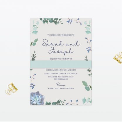 Botanical Single Card bellyband Wedding Invitation Love Invited