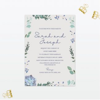 Botanical Single Card Wedding Invitation Love Invited