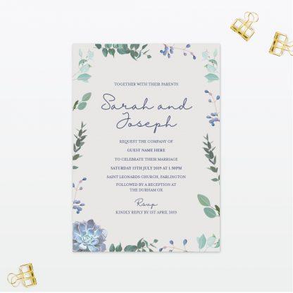 Botanical Single Card Wedding Invitation Love Invited