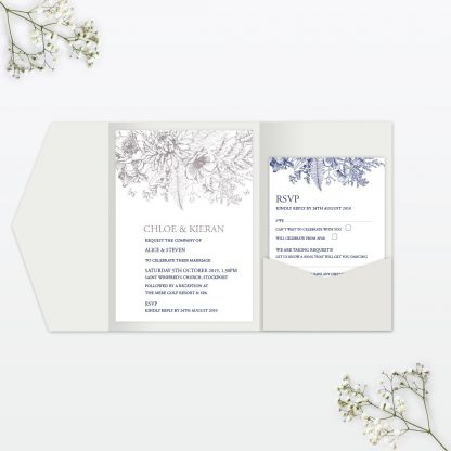 Beautiful Butterfly Pocket Fold Wedding Invitation Love Invited