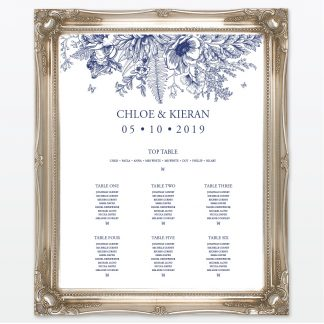 Beautiful Butterfly wedding printed table plan framed Love Invited