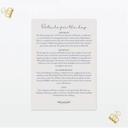 Botanical wedding additional information Card Love invited