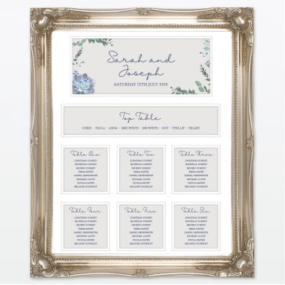 Botanical wedding mounted table plan frame Love Invited