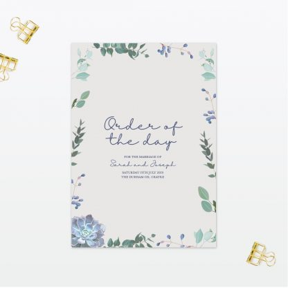 Botanical Wedding order of the day Love Invited