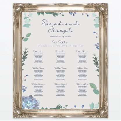 Botanical wedding printed table plan frame Love Invited