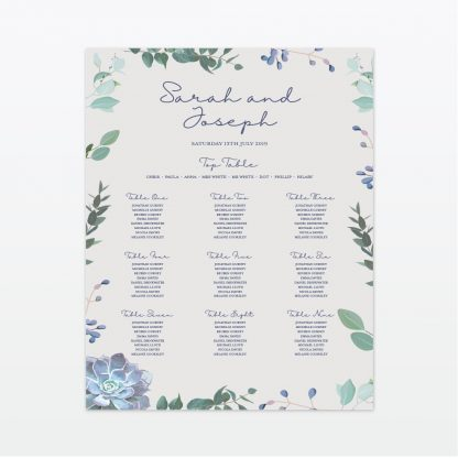 Botanical wedding printed table plan Love Invited