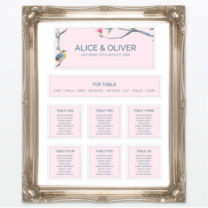 Love Birds Table Plan - Wedding Stationery