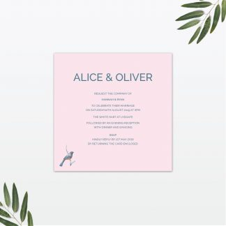 Love Invited Love Birds single card wedding invitation
