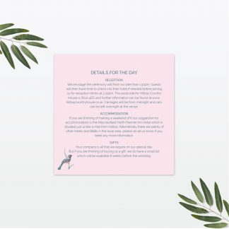 Love Birds wedding additional information card Love Invited