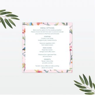 Love Words wedding invitation menu Love Invited
