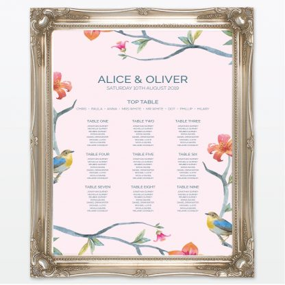 Love Birds printed wedding table plan with frame Love Invited