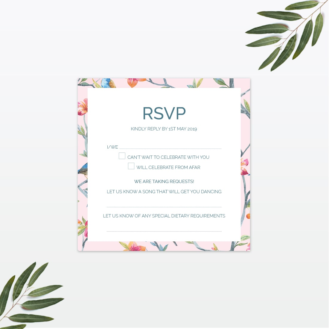 Love Birds wedding RSVP postcard Love Invited