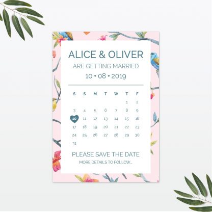 Love Birds Wedding save the date Love Invited