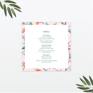 Love Birds wedding table menu Love Invited