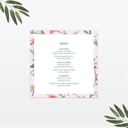Love Birds wedding table menu Love Invited