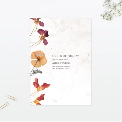 Spring Blossom Order Of The Day - Wedding Stationery