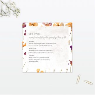 Spring Blossom wedding invitation menu vintage Love Invited