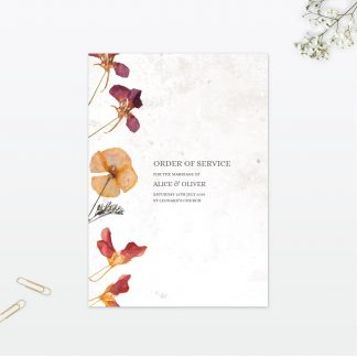 Spring Blossom Order Of Service - Wedding Stationery