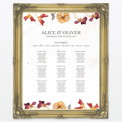 Spring Blossom printed wedding table plan with frame Love Invited