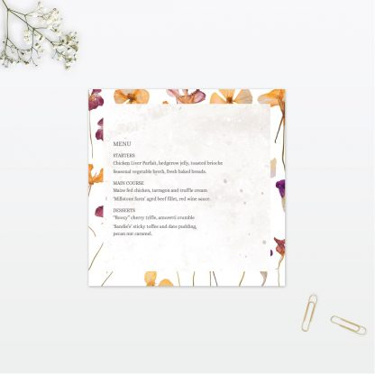 Spring Blossom wedding table menu vintage Love Invited
