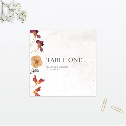 Spring Blossom wedding table number vintage Love Invited