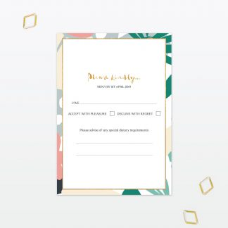 Summertime wedding RSVP postcard with foil Love Invited