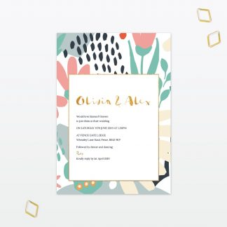 Summertime Single Card Wedding Invitation with Foil Love Invited
