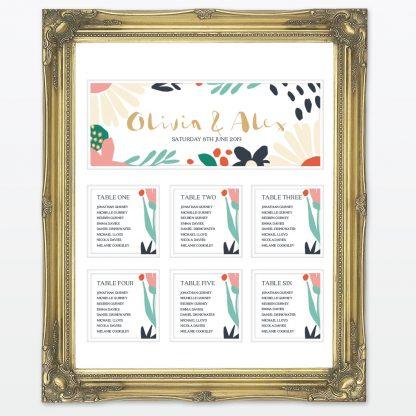 Summertime wedding mounted table plan framed Love Invited