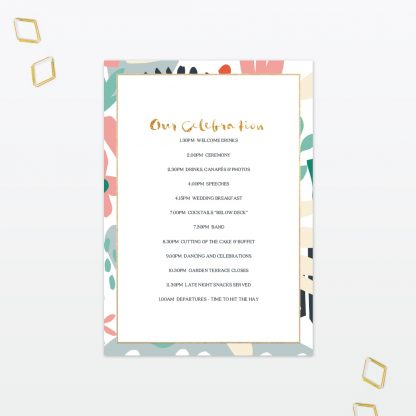 Summertime wedding order of the day foil Love Invited