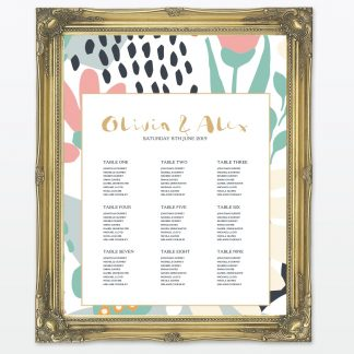 Summertime wedding printed table plan framed Love Invited