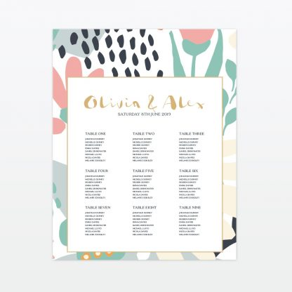 Summertime wedding printed table plan framed Love Invited
