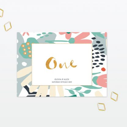 Summertime wedding table number with foil Love Invited
