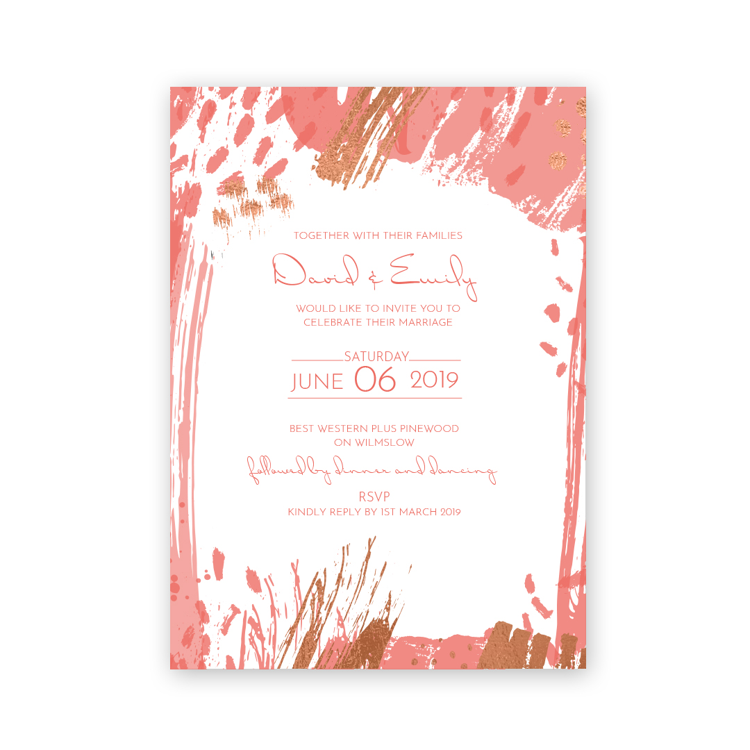 Pantone Living Coral Love Invited Wedding Stationery
