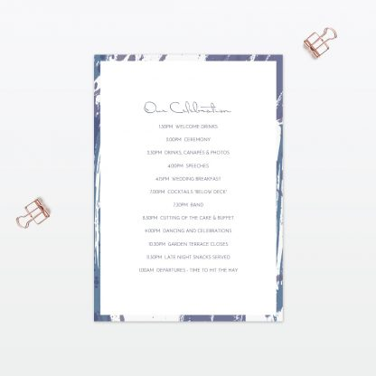 Abstract Brushstroke Order Of The Day - Wedding Stationery
