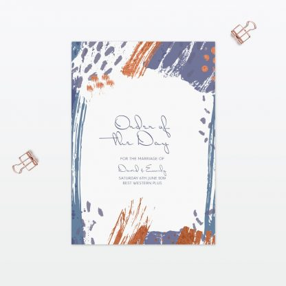 Abstract Brushstroke Modern wedding order of the day with foil Love Invited