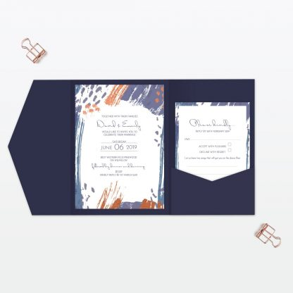 Abstract Brushstroke modern pocket folder wedding invitation Love Invited