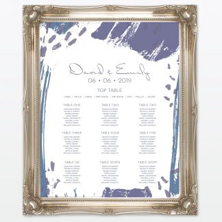 Abstract Brushstroke modern wedding table plan with frame Love Invited