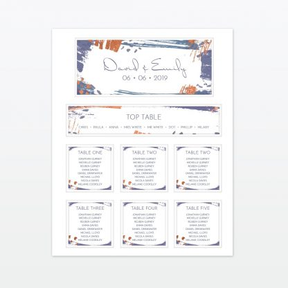 Abstract Brushstroke modern wedding table plan with foil Love Invited