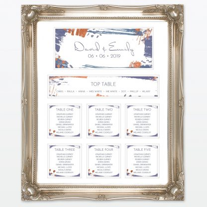 Abstract Brushstroke modern wedding table plan with foil and frame Love Invited