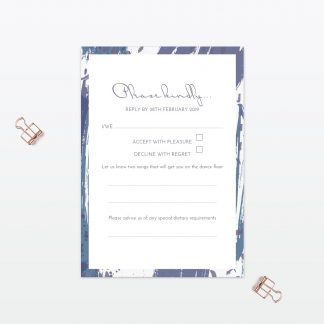Abstract Brushstroke modern Wedding RSVP Love Invited