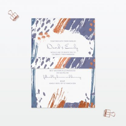 Abstract Brushstroke Wedding Invitation - Wedding Stationery