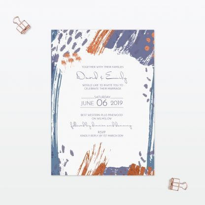 Abstract Brushstroke modern single card wedding invitation with foil Love Invited
