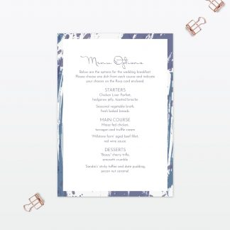 Abstract Brushstroke modern wedding invitation menu Love Invited