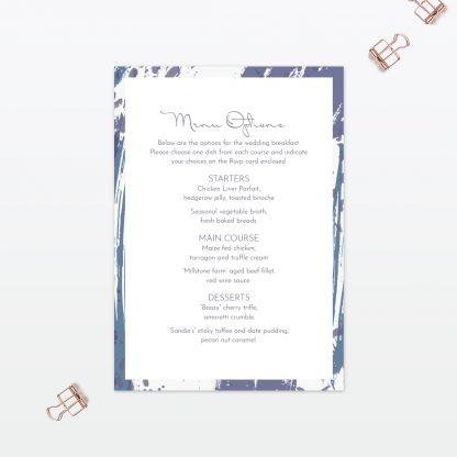 Abstract Brushstroke modern wedding invitation menu Love Invited