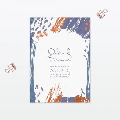 Abstract Brushstroke wedding order of service with foil Love Invited