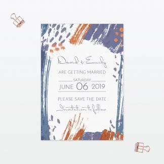 Abstract Brushstroke modern wedding save the date with foil Love Invited