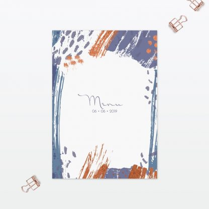 Abstract Brushstroke modern wedding table menu Love Invited