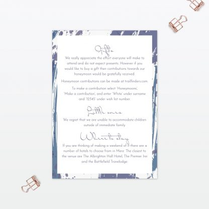 Abstract Brushstroke modern wedding additional information card Love Invited
